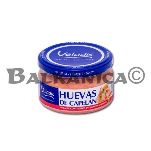180 G HUEVAS DE CAPELAN EN SALSA CON TROZOS DE SALMON VELADIS